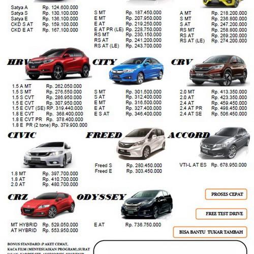 Jual Daftar Harga Mobil Honda Di Semarang Kota Semarang Honda Dealer Semarang Tokopedia