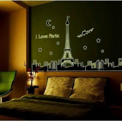 Foto Produk wall sticker 60x90/wall stiker GLOW- ABQ9602- I love paris dari radja dinding
