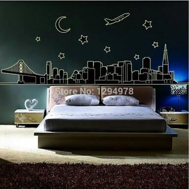 Foto Produk wall sticker 60x90/wall stiker GLOW IN THE DARK-ABQ9601 NIGHT CITY dari radja dinding