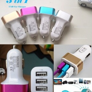 Foto Produk Car Charger 3in1 Port Usb colokan lighter samsung android apple mobil - Gold dari paffie shop