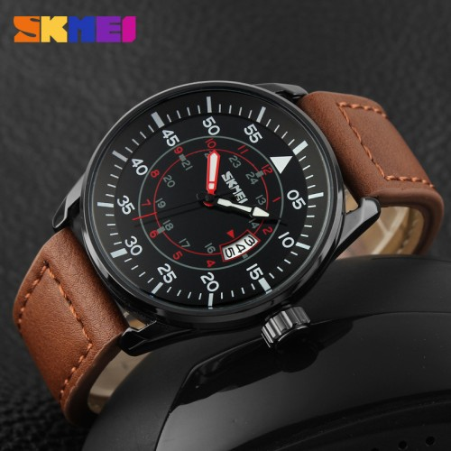 Foto Produk kmei 9113cl - 9113 brown , Leather Strap, Original, New, Waterproof dari AlfadaStore
