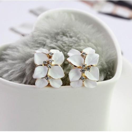 Foto Produk anting bunga enamel / floral enamel buckle earrings JAN024 - Hitam dari Oila