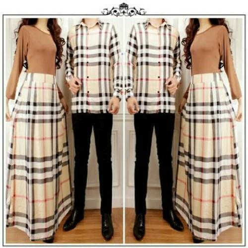 Foto Produk Couple Pasangan Burberry Kemeja Maxi Dress Gamis Sarimbit Coklat dari Siraja Store