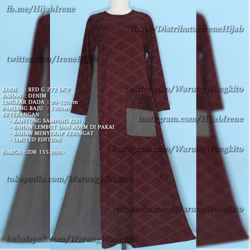 Foto Produk RED G 272 DCP IRENE HIJAB MAXI GAMIS MURAH DRESS FASHION MUSLIMAH dari Warung Wongkito