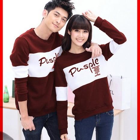 Foto Produk [Cp T-Shirt Pusple Marun CL] couple baju babyterrry marun putih dari FASHIONISTA's GROSIR