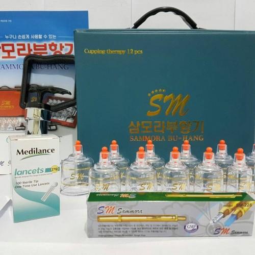 Foto Produk Paket Hemat.. Kop Bekam Sammora Biru Isi 12 + Lancing Gold SM + Jarum dari Vintaco