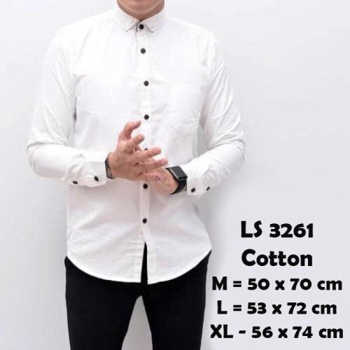 Foto Produk Baju Kemeja Lengan Panjang Casual Pria Putih Broken Polos Slimfit 3261 - Putih, M dari Virtual Custom Clothing
