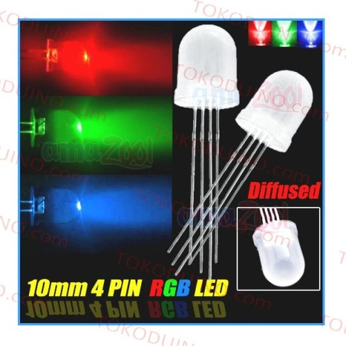Foto Produk LED RGB DIAMETER 10mm (1cm) DIFFUSED COMMON ANODE PUTIH BURAM LAMPU dari Tokoduino
