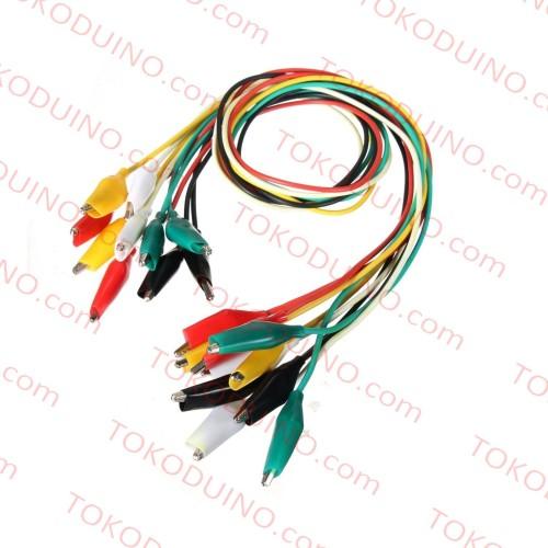 Foto Produk KABEL JEPIT BUAYA 10 HELAI 50cm ALLIGATOR CROCODILE CABLE TEST CLIP dari Tokoduino