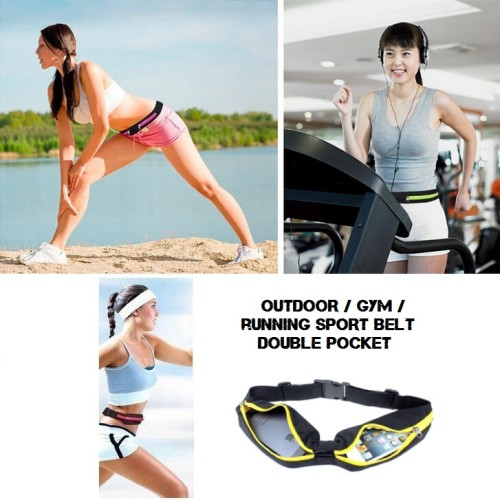 Foto Produk Waterproof Smart Double Pockets Running Belt / Sport,Outdoor,Gym Belt - BLACK dari Nidji Shop