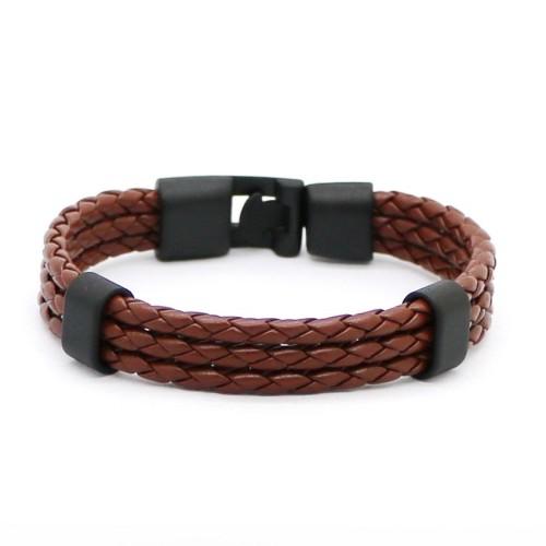 Foto Produk GG083 Gelang Pria  Kulit / Men Fashion Faux Bracelet Premium Quality - Cokelat dari Mooi Lashes