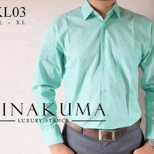 Foto Produk kemeja pria hijau tosca lengan panjang polos bahan katun halus. dari jago busana