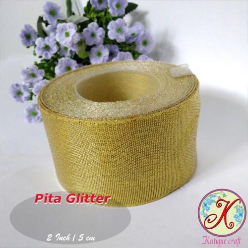 Foto Produk Pita Glitter 2 Inch / 5 cm Gold Per Meter - Perak dari Kutique Craft