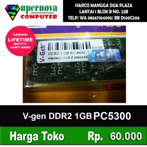 Foto Produk Memory RAM PC DDR2 1GB PC 5300 667Mhz V-Gen dari Supernova Computer Ariet