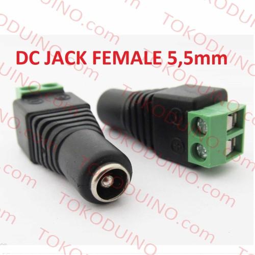 Foto Produk JACK DC FEMALE POWER ADAPTOR DC CCTV 5.5mm SOCKET CABLE KONEKTOR DC dari Tokoduino