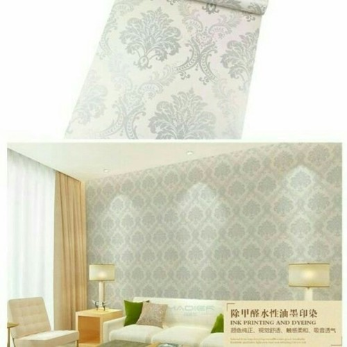 Foto Produk Wallpaper damask luxury silver 45cm x 10mtr || Wallpaper Dinding dari dedengkot wallpaper