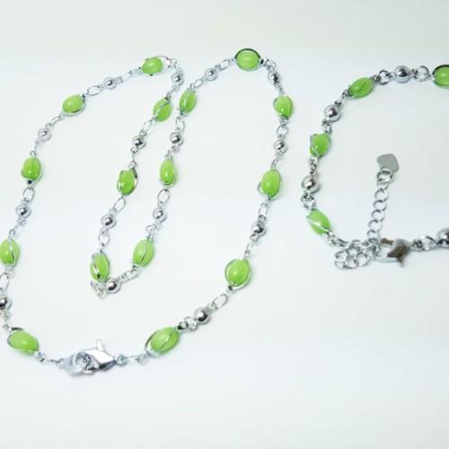 Foto Produk VeE Paket Kalung Gelang Wanita Lapis Emas 18K Batu Giok Hijau dari Vee Jewelry