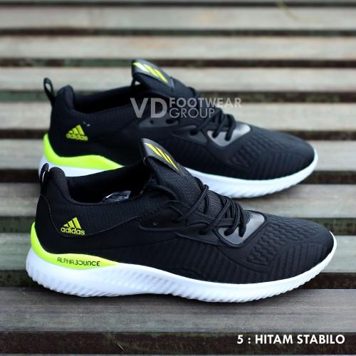 Foto Produk Sepatu Running Adidas Alphabounce Pria Olahraga Lari Jogging Grade Ori - Hitam Stabilo dari MUGI JAYA SPORT
