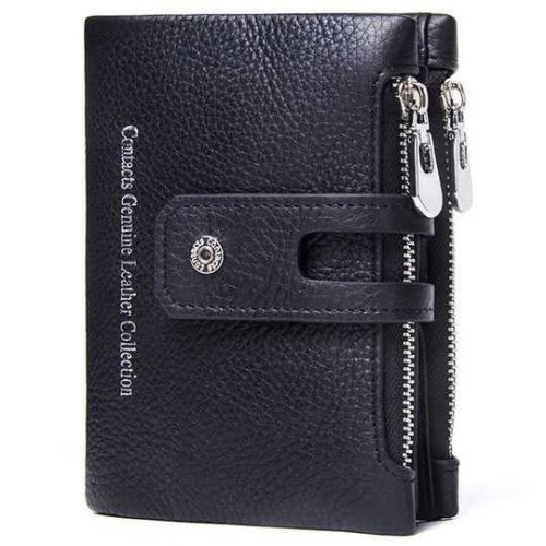 Foto Produk Contact Dompet Pria Kulit Asli Contact's Leather Men Wallet New 2018 * - Hitam dari lbagstore