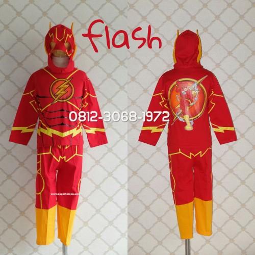 Foto Produk Baju Kaos Kostum Anak Karakter Superhero FLASH THE FLASH - Size 14 dari Bebagus