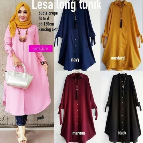 Foto Produk Atasan Blouse Wanita Baju Muslim Blus Muslim Lesa Long Tunik - pink dari apstore56