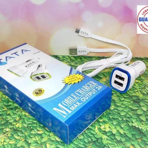 Foto Produk TATA Fast Charger Mobil TCC-202 Adaptor 2.0A + kabel micro 2A Auto ID dari TATA MOBILE