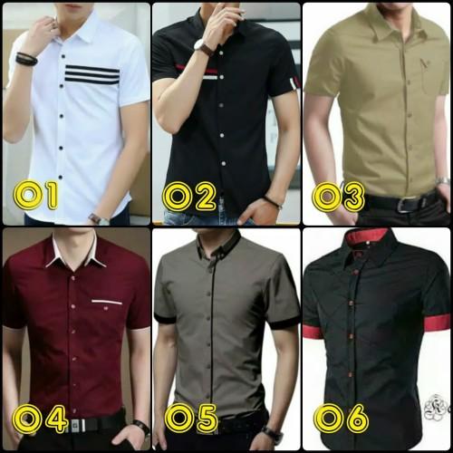 Foto Produk kemeja pria slim fit lengan pendek casual | pakaian cowok jaman now dari Rifa t-shirt