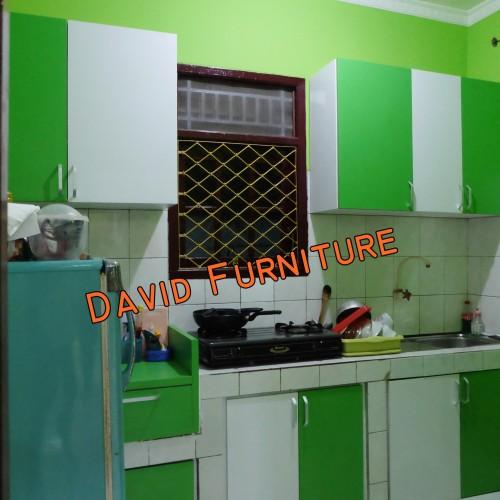 Jual Kabinet Dapur Minimalis Hijau Putih Dengan Meja Beton Jakarta Timur David Furniture Tokopedia