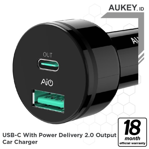 Foto Produk Aukey CC-Y7 USB C PD & Power Delivery 2.0 Output Car Charger dari AUKEY