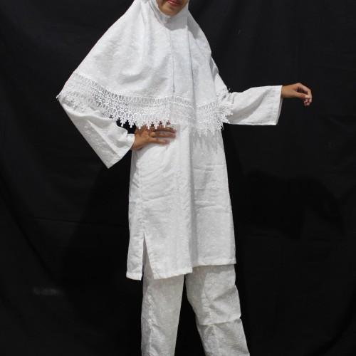 Foto Produk Setelan Ihram Majidah Full Bordir Lengkap BI423 - Baju Ihrom Wanita dari Zaidan Mall