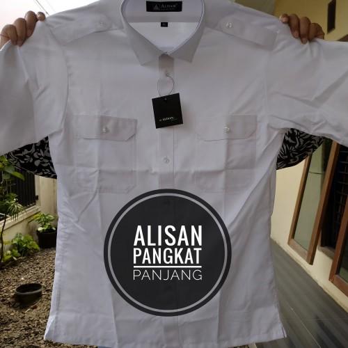 Foto Produk Baju Kemeja putih alisan pangkat / pilot panjang kantong 2 - putih reguler, S dari harden