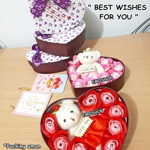 Foto Produk Flower Soap Bouquet + Bear Doll. kado ultah pacar,teman,anak,keluarga dari Emo Shop
