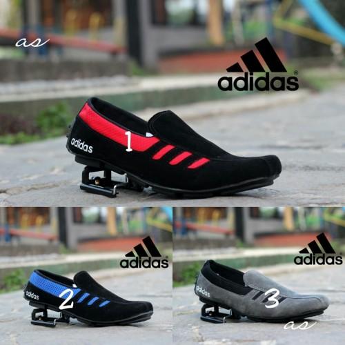 Foto Produk Sepatu Adidas Slip On Slop Pria Kulit Suede Nike Cat loafers - Biru, 39 dari TOKO KICKERS 4