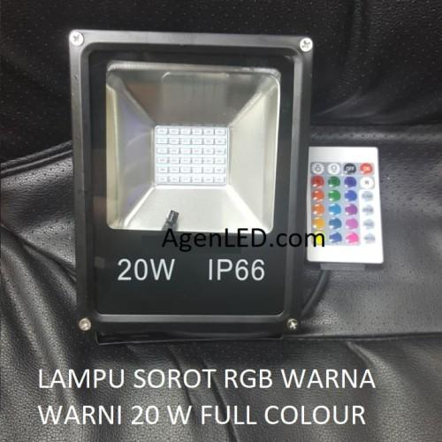 Foto Produk Lampu LED SOROT 20W Flood Light Lampu tembak RGB warna warni 20 w watt dari AgenLED