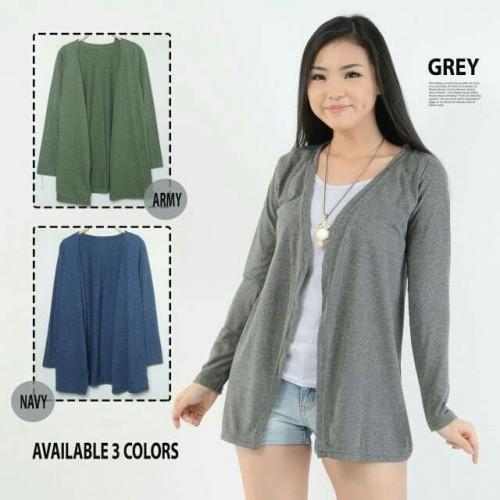Foto Produk Cardigan Two Tone Bahan Kaos halus & lembut uk all size fit to XL - Maroon, XL dari Apa-Aja Shop