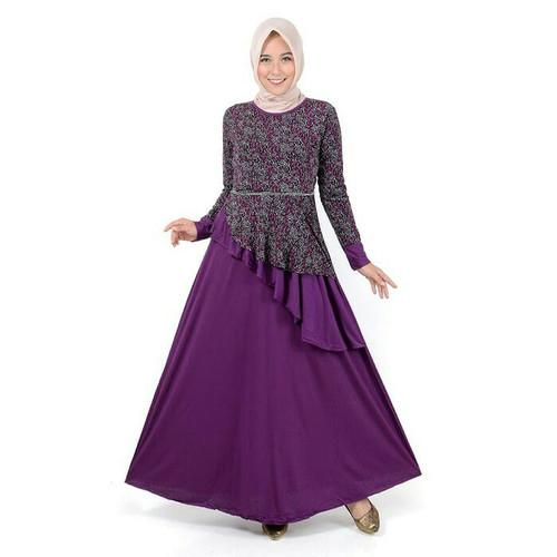Foto Produk JEHFashion Long Dress Gamis Maxi Kombinasi Corak - Lucinta dari JEH-Shop