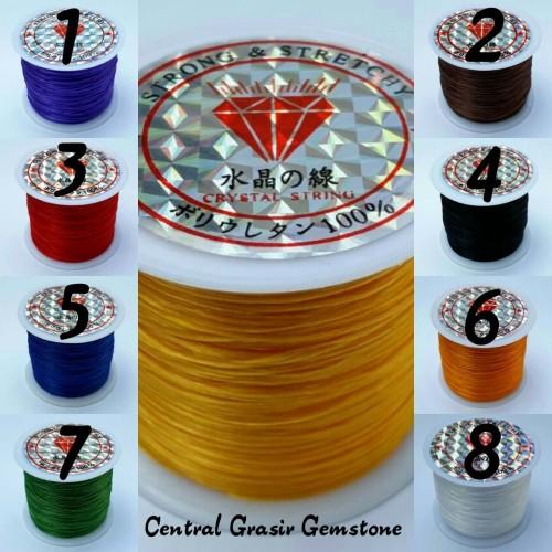 Foto Produk Tali Benang Karet Gelang Serat Super 60 Meter Elastis - Hitam dari Central Grosir Gemstone