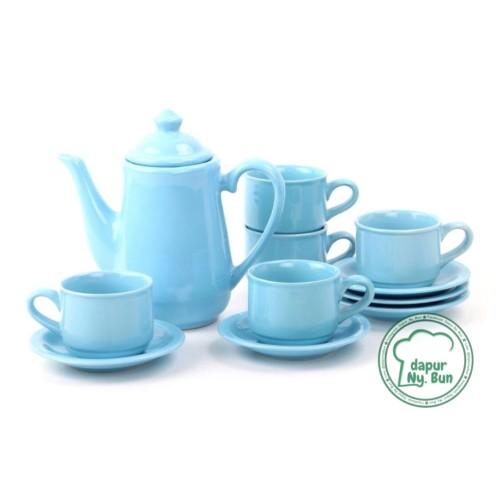 Foto Produk Tea Set Nikura / Coffee Set / Teko + Tutup / 5 Cangkir + 5 Saucer - Biru Muda dari Dapur Ny.Bun
