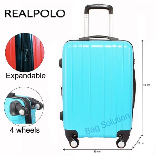 Foto Produk Real Polo Tas Koper Hardcase Fiber ABS 4 Roda Putar - 7716 Size 24 Inc - Hitam dari Bag Solution