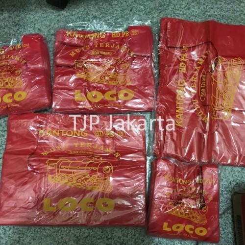 Foto Produk Kantong Plastik Kresek Loco Tebal Merah 500 gram ukuran 17 - 40 - 17 x 33 dari TJP Jkt