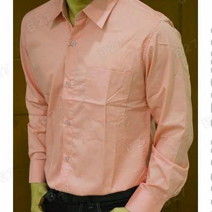 Foto Produk kemeja pria polos lengan panjang warna salem atau peach dari juara busana
