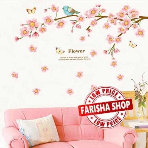 Foto Produk Pink Peach Flower JM7296 - Stiker Dinding / Wall Sticker dari farisha shop