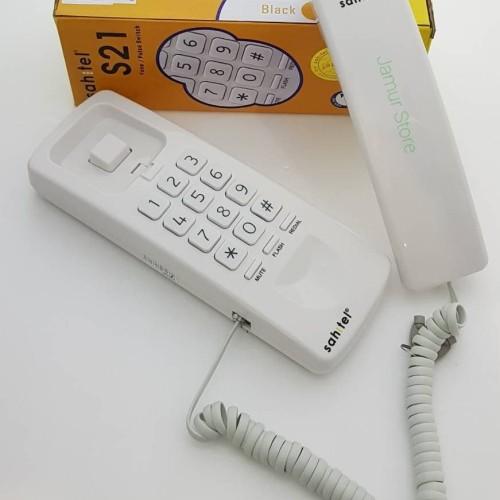 Foto Produk Telepon Gagang / Telpon Rumah Kabel Sahitel S21 Putih - Putih dari Jamur Store