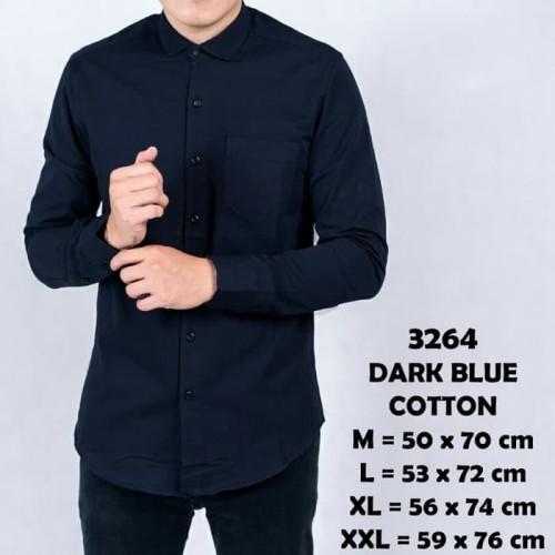 Foto Produk Baju Kemeja Lengan Panjang Casual Pria Biru Navy Polos Slimfit 3264 - Navy, M dari Virtual Custom Clothing
