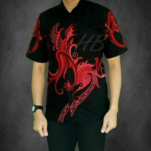 Foto Produk Baju Batik Pria Kemeja Lengan Pendek - Hijau, M dari Bintang shop jaya
