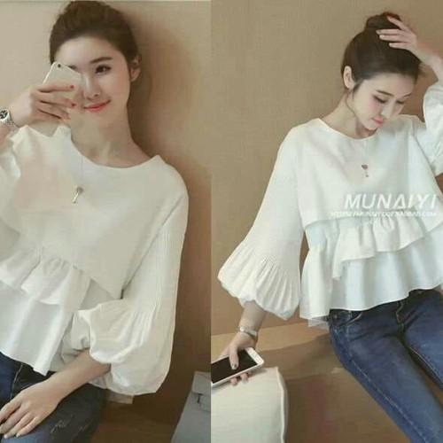 Foto Produk [WHITE MUNAYI SL] blouse wanita katun putih dari FASHIONISTA's GROSIR