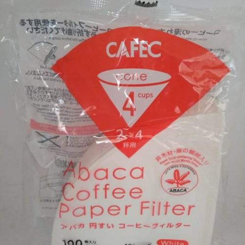Foto Produk Alat Kopi Cafec Abaca AC4-100W Filter Paper V60 02 White Isi 100pcs dari MinnieStore