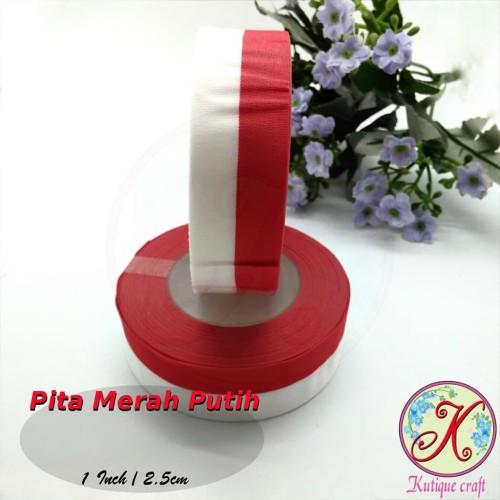 Foto Produk Pita Merah Putih 1 Inch / 2,5 cm per roll dari Kutique Craft