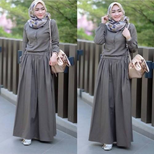 Foto Produk Baju Gamis Syari Wanita Muslim Terbaru Sadira Dress Termurah dari hijabafwa