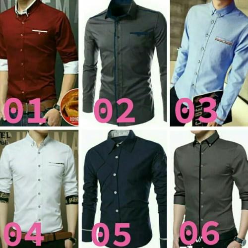 Foto Produk Kemeja kerja pria | Baju cowok kantor | Hem lengan panjang polos murah dari Rifa t-shirt